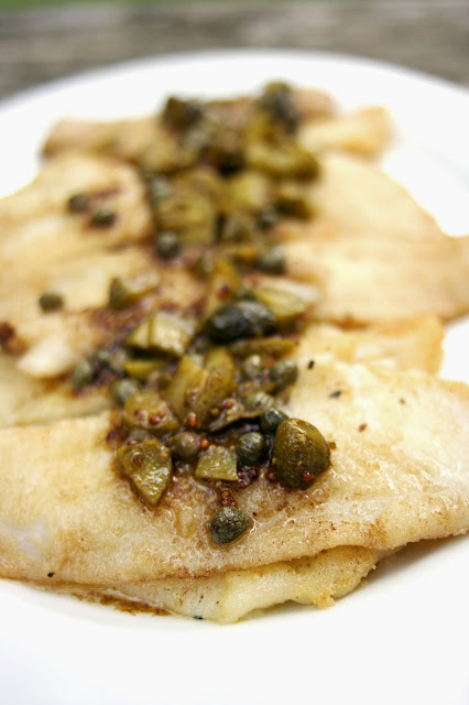 Sole with Capers, Cornichons and Brown Butter: simplelivingeating.com