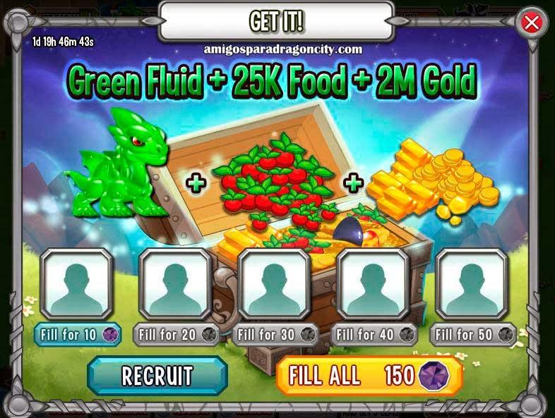 imagen de la promocion del dragon fluido verde de dragon city