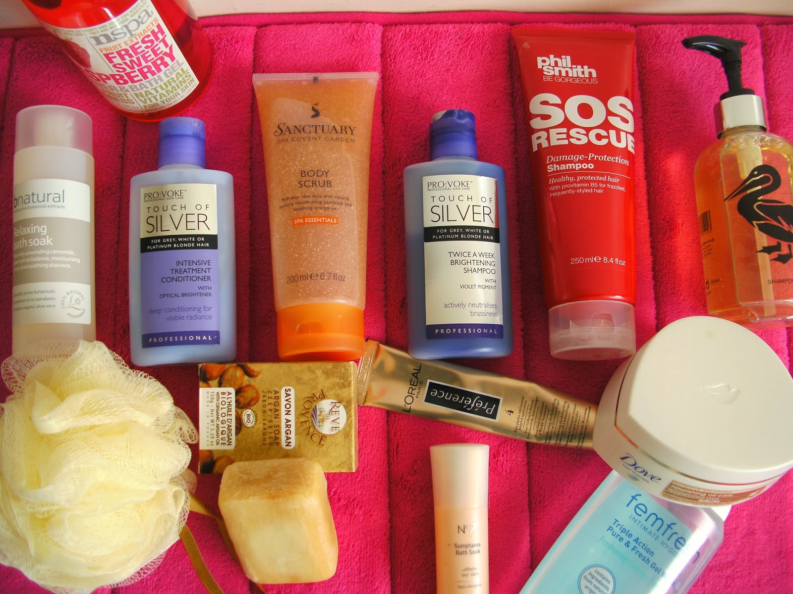 What's in my Shower - Hair, Shower & Bath Products I'm Currently Using Including: nspa, Sanctuary Spa, PROVOKE Touch of Silver, Phil Smith, Duck Island, L'Oreal, Dove Hair Mask, No7 Bath Soak, Argan Soap, bnatural, Shower Puff, Femfresh