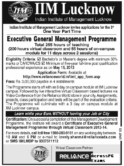1 Year Part Time Executive MBA from IIM Lucknow 2013