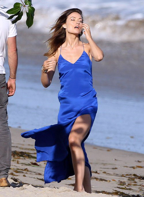 Olivia Wilde posing in a blue dress