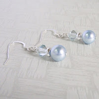Light Blue Earrings by MagsBeadsCreation