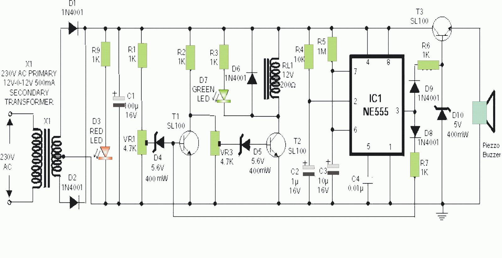 Simple Mains High Low Voltage Cut Off Circuit Schematics Lab Power Fm Transmitter Diagram