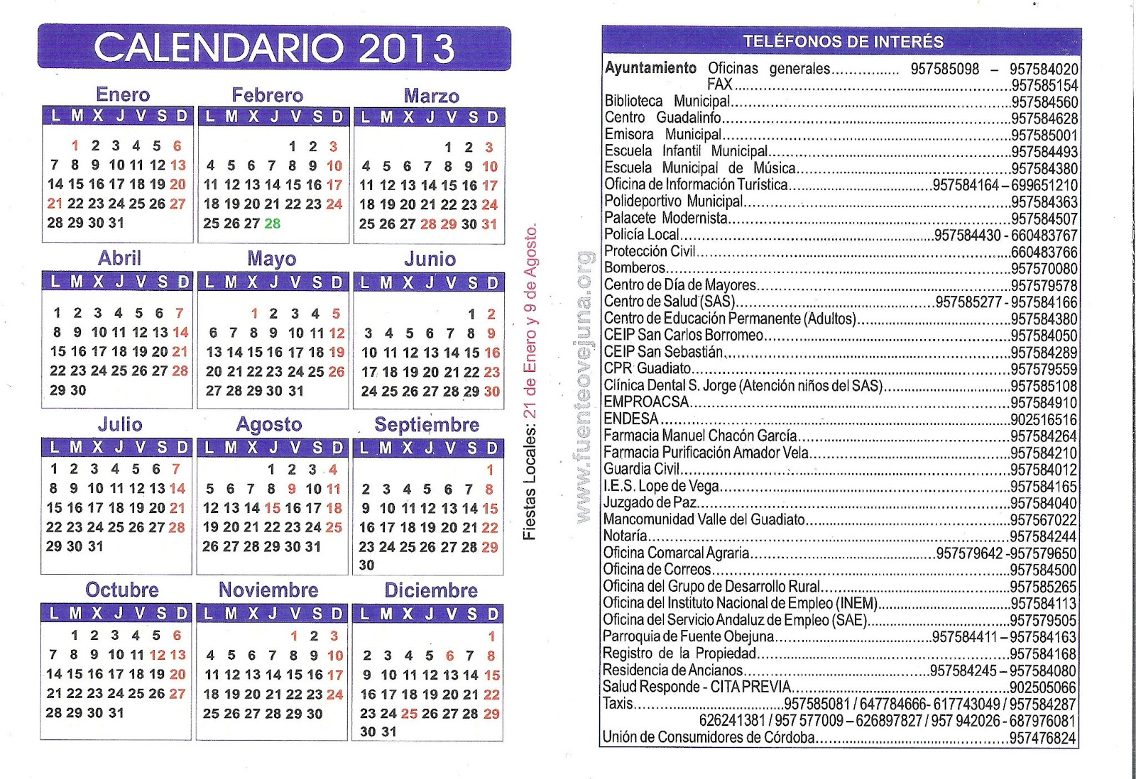 Un pueblo de leyenda: Calendario y Agenda 2014