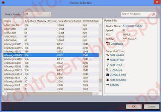 Atmel Studio - Wybór procesora.