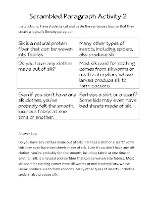 Scrambled Paragraph Writing Activity - could use within sequencing ...