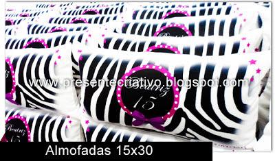 Almofadas personalizadas com tema Zebra