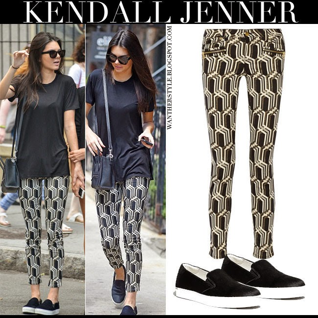 Kendall Jenner in black top with geometric print jeans by Genetic x Liberty Ross and black slip on sneakers Kenneth Cole King August 20 2014 want her style