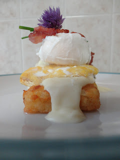 Pippa's Sneaky Cooked Breakfast of Hash Browns, Cheese Sauce, Smoked Haddock, Poached Egg, Bacon and Chives