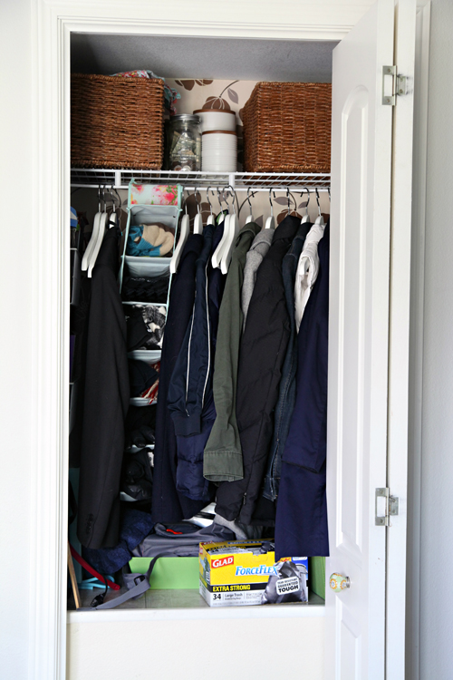 We Have This Odd Shaped Closet Located Above Our Stairs; Which Means That  We Lose About 2 1/2 Feet Of Space. This Closet Typically Houses Our Coats,  ...