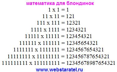 Интересная математика. Умножение одинакового количества единиц. Как проверить калькулятор. Математика для блондинок.