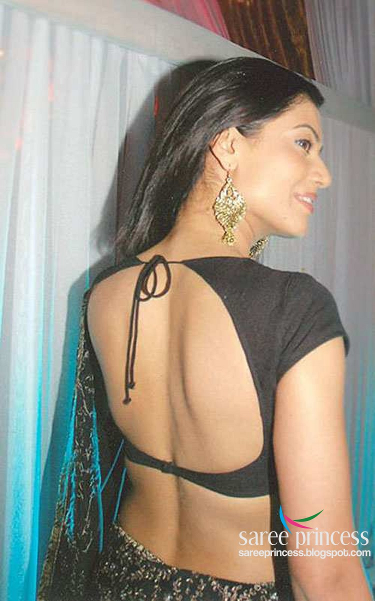 tv actress in backless blouse   hot black blouse