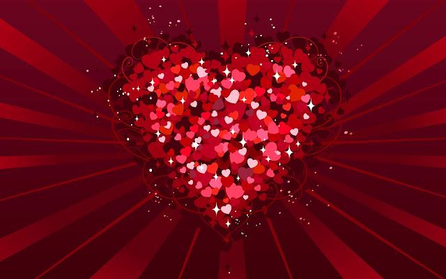 Afbeelding met groot liefdes hart met kleinere hartjes