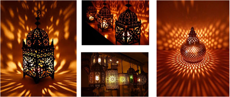image of lit Moroccan lamps