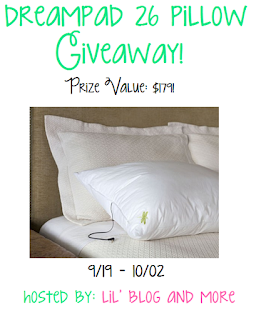 Enter the Dreampad 26 Pillow Giveaway. Ends 10/2