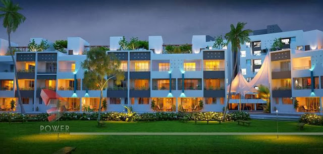 Night View Exterior Rendering Township