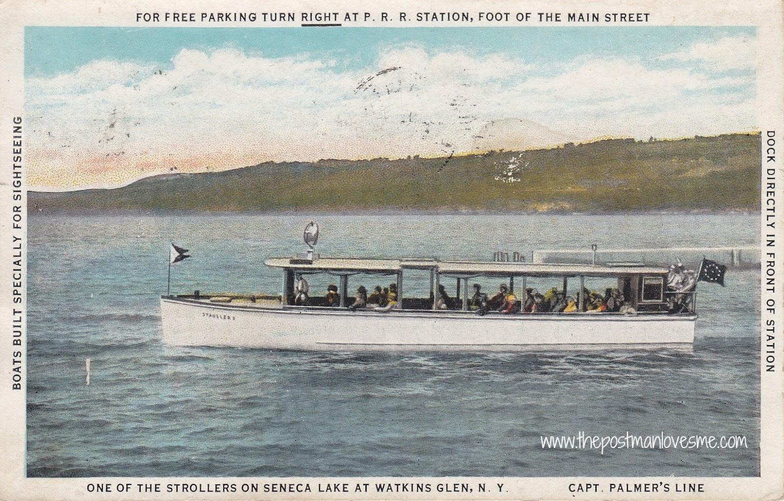 Vintage postcard - Stroller on Seneca Lake at Watkins Glen, NY
