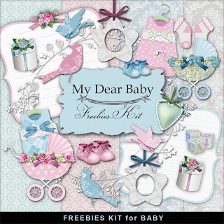 "Free scrapbook mini kit ""My dear baby"" from Far Far Hill"