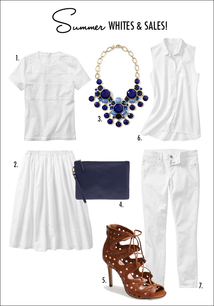 how to wear white summer, nordstrom sale, gap sale, white denim, lace up sandals, vince camuto, statement necklace