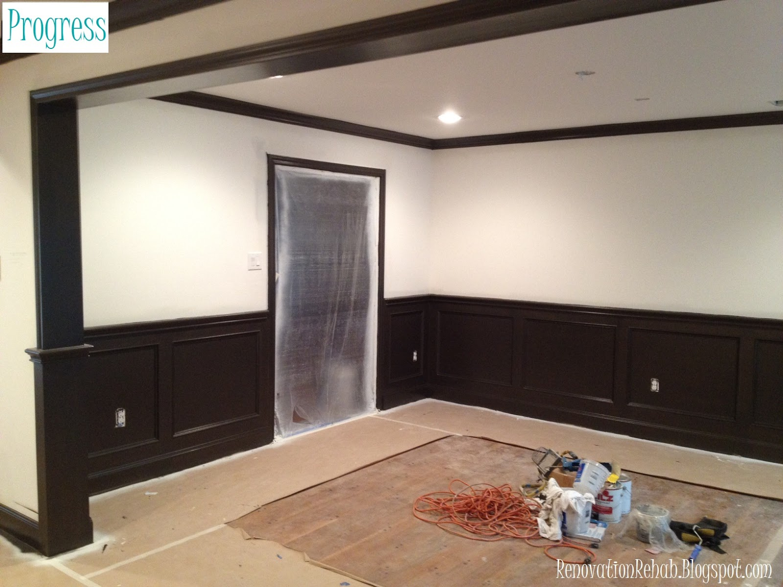 Renovation rehab let the painting commence for Dining room painting ideas with wainscoting