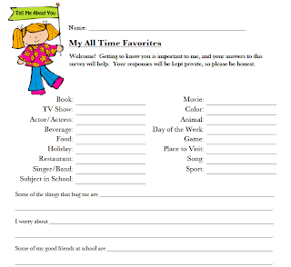 Classroom Freebies Too: All About Me Student Survey