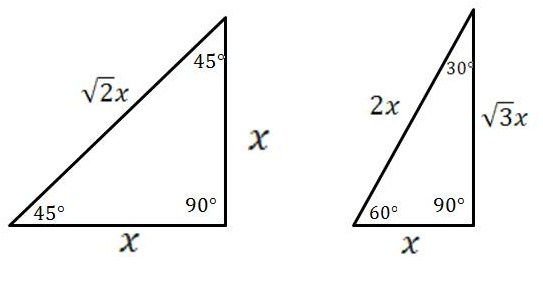 mathcounts notes special right triangles 30 60 90 and 45 45 90 degrees right triangles. Black Bedroom Furniture Sets. Home Design Ideas