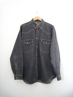 vintage black denim, mens denim western shirt, vintage western shirt, cutandchicvintage mens denim shirts