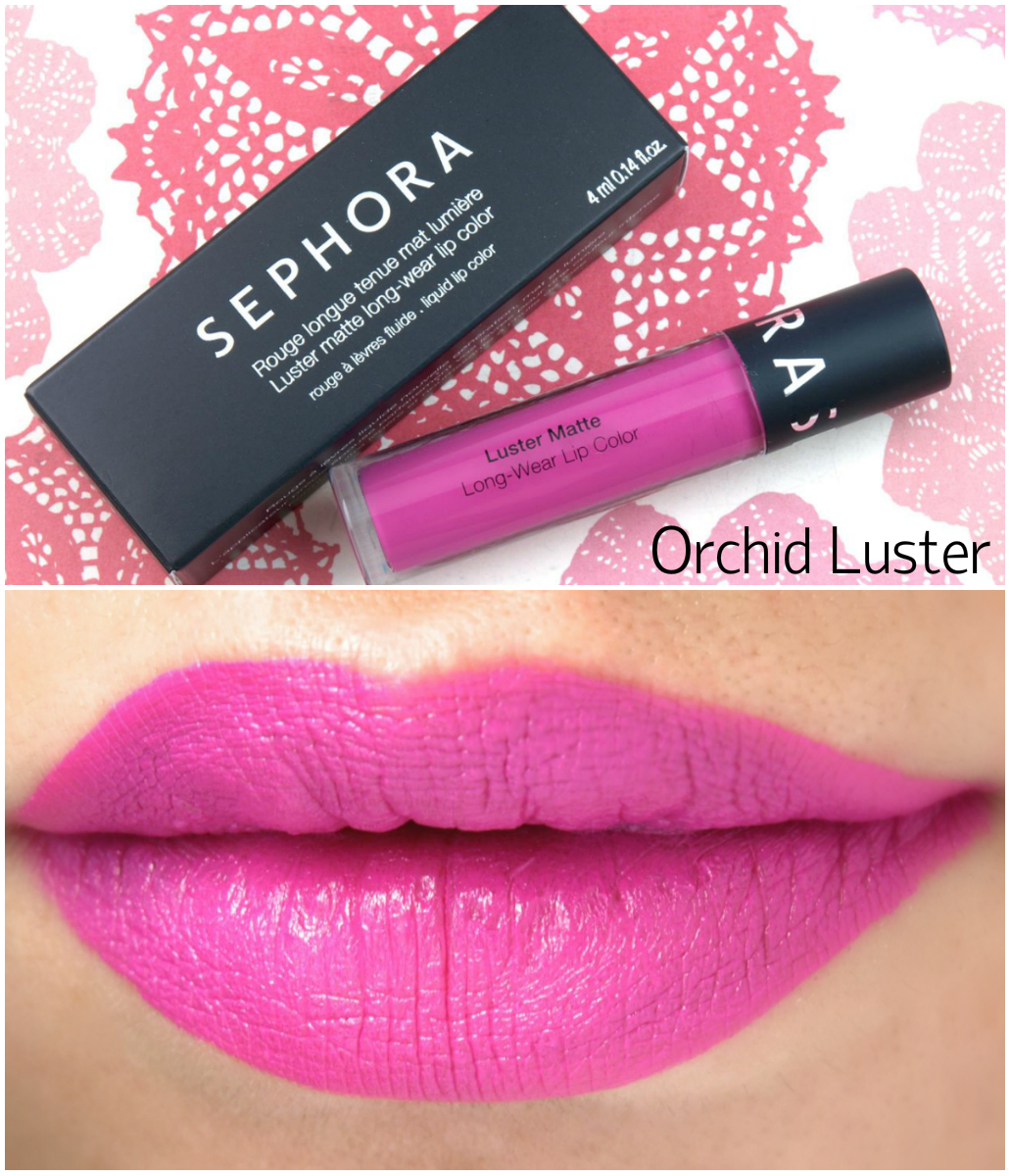 "Sephora Luster Matte Long-wear Lip Color in ""Orchid Luster"": Review and Swatches"
