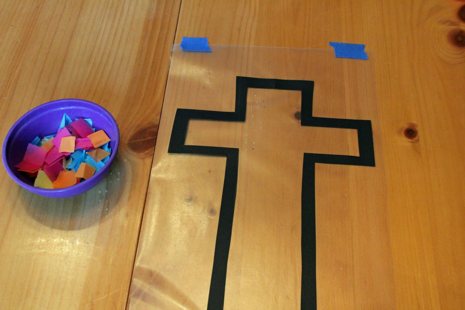 Frills fluff and trucks stained glass cross craft tutorial for Cardboard crosses for crafts