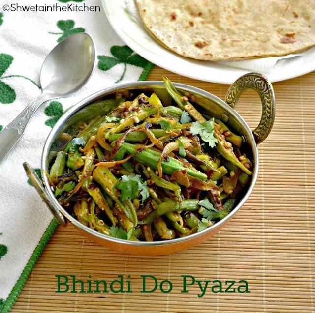 Shweta in the Kitchen: Bhindi Do Pyaza - Okra Onion Stir Fry