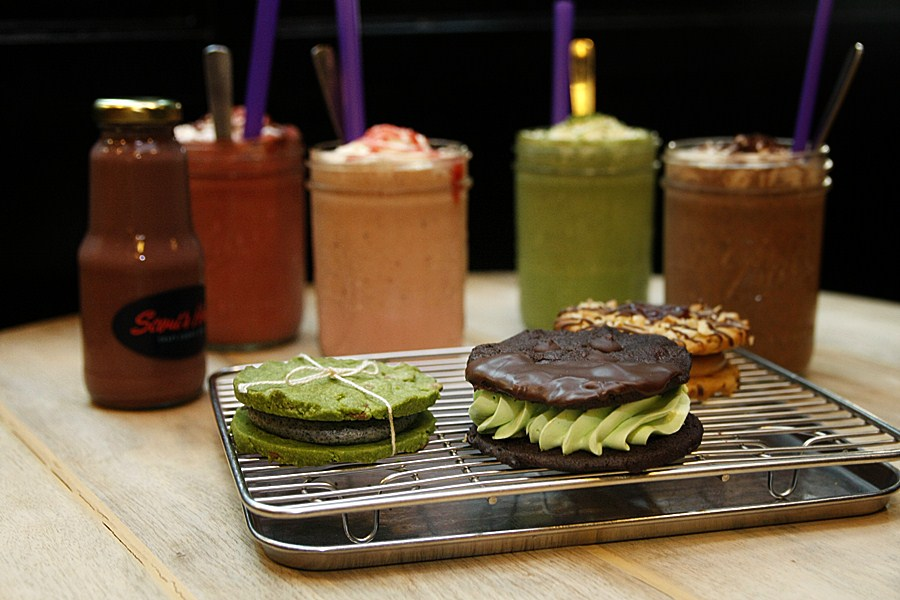 Scout's Honor's milkshakes Matcha Sesame Cookie, Thin Mints, and Cranberry and Strawberry Jam Oatmeal Cookie.
