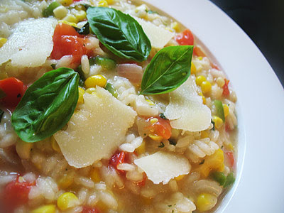 Sweet Corn Risotto with Tomato and Basil