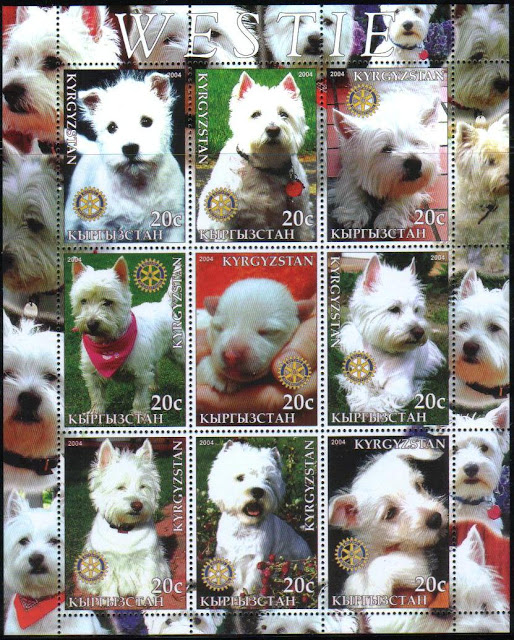 2004年キルギスタン共和国 ウエスト・ハイランド・ホワイト・テリアの切手シート