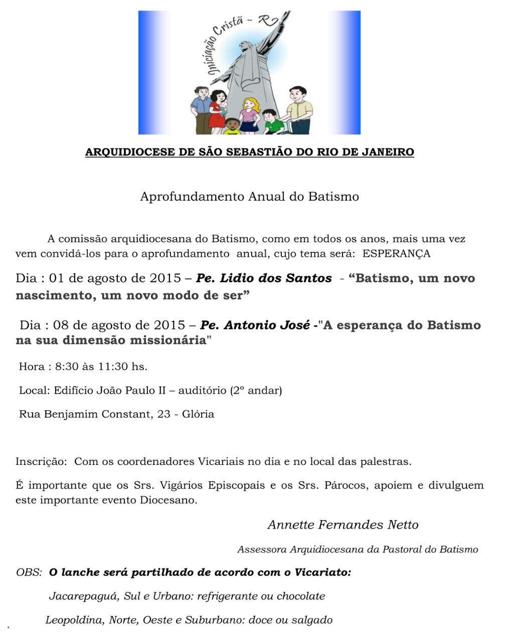 Formação para agentes da Pastoral do Batismo!