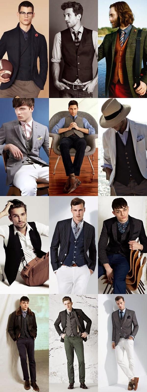 Kamizelki męskie w stylizacjach casual.