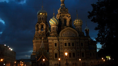 The Church of the Savior on Blood at night.