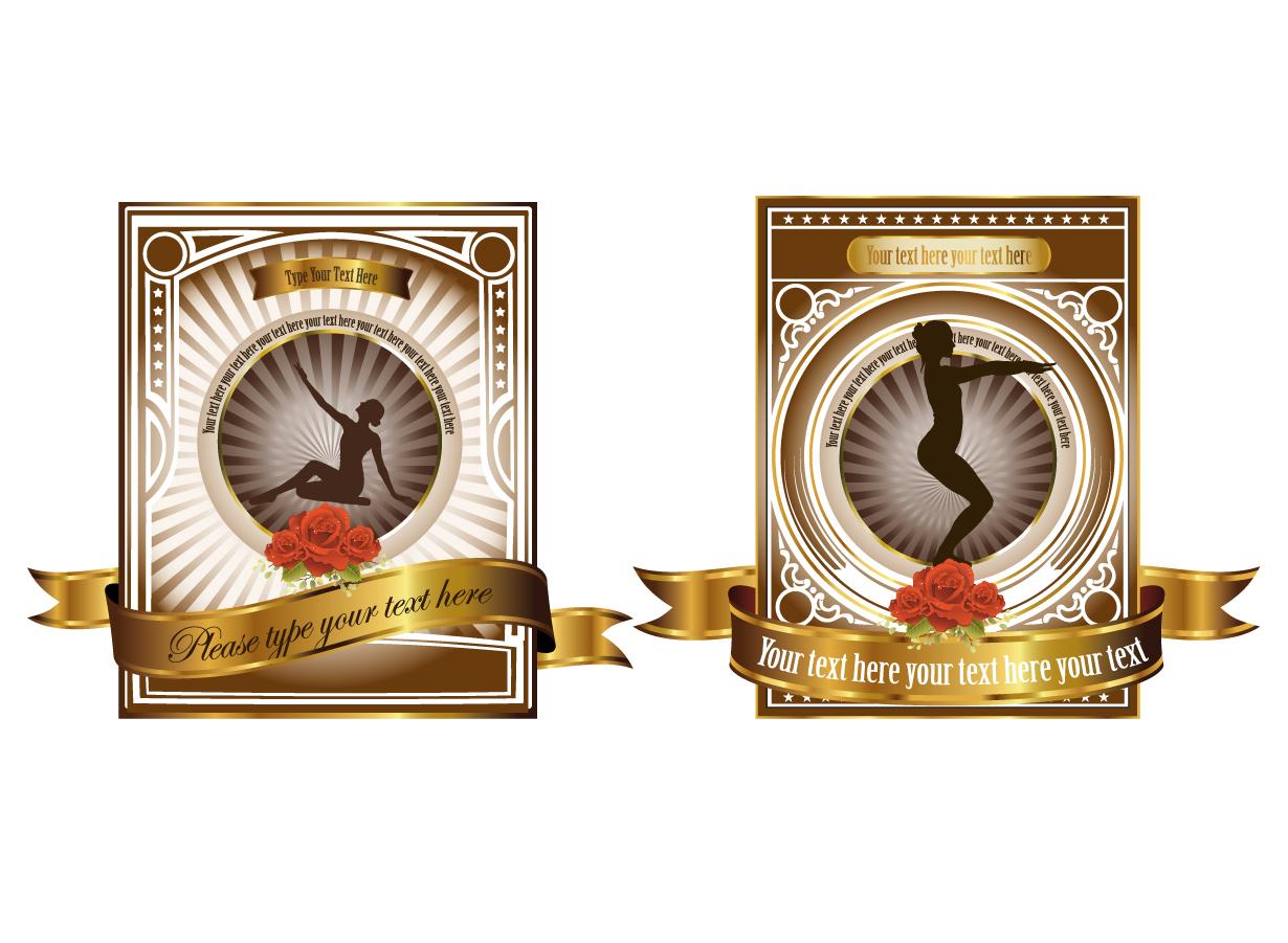 美しい薔薇の金縁ラベル rose gold label vector european イラスト素材2