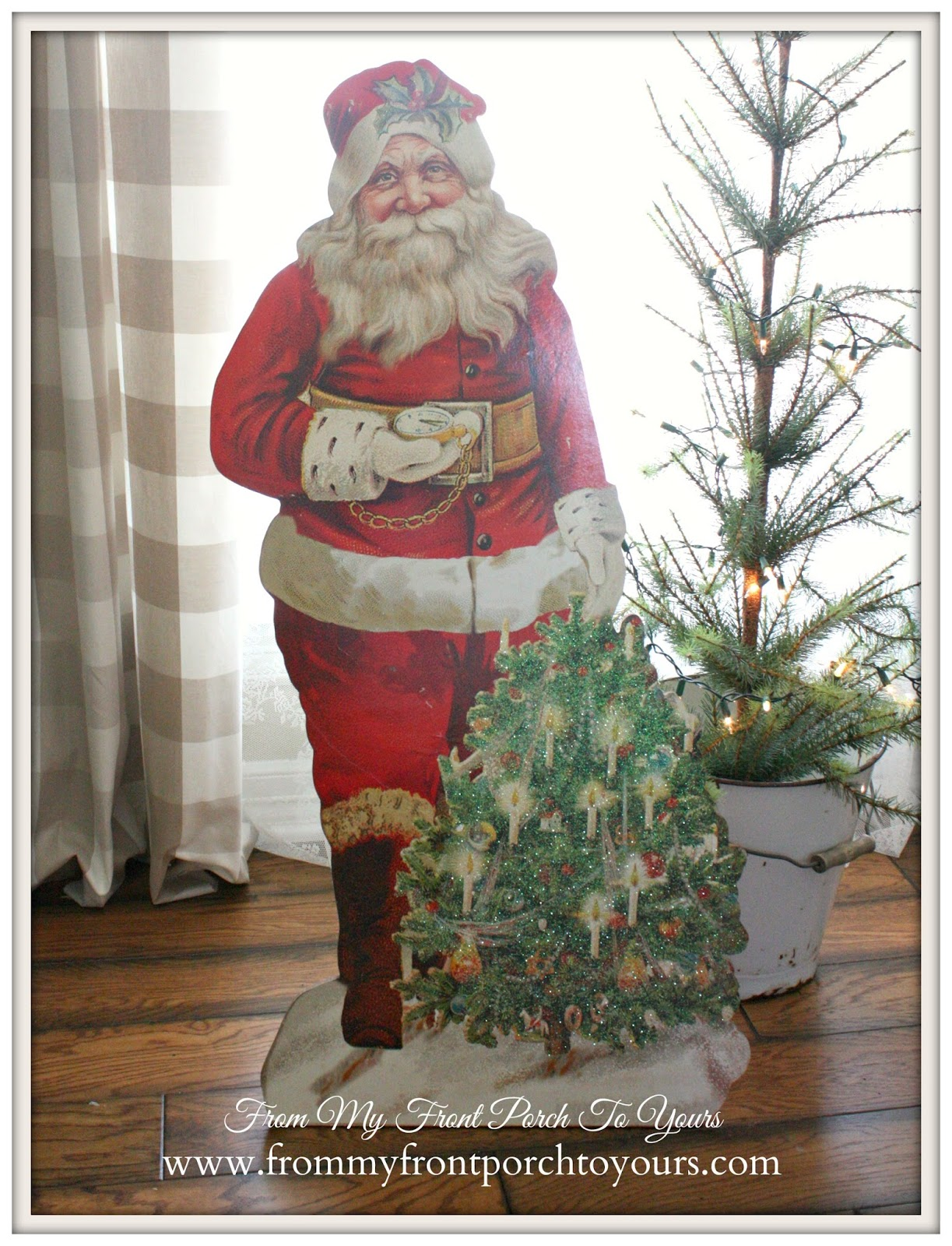DIY Lighted Vintage Santa Cutout From My Front Porch To Yours