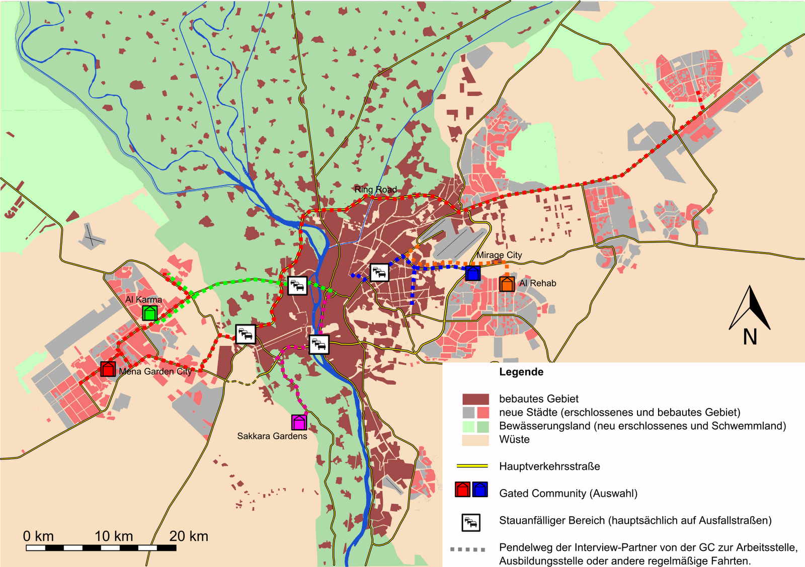 Karte 1 Pendelwege der Bewohner von Gated munities im Großraum Kairo Quelle Eigener Entwurf 2011