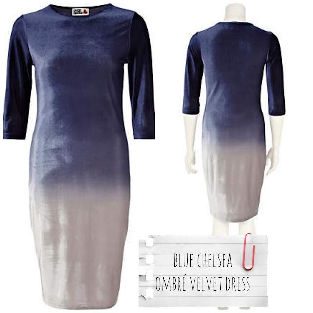 River Island - Vestido azul Chelsea ombré velvet - €40