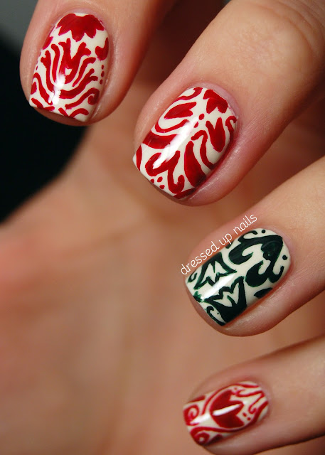 Dressed Up Nails - festive Christmas damask pattern nail art
