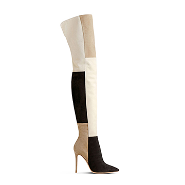 Gianvito Rossi patchwork over the knee stiletto boots
