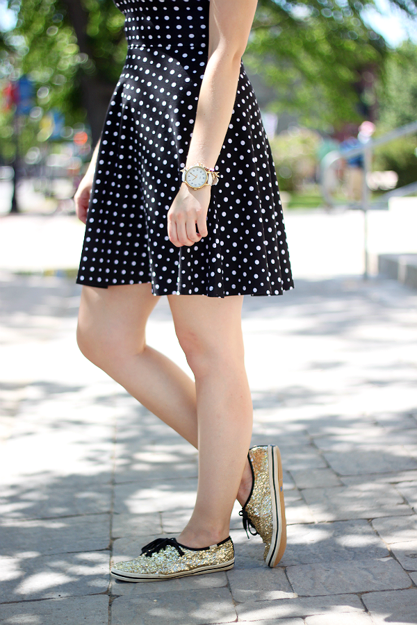 Kate Spade Gold Glitter Keds, Black and white polka dot dress