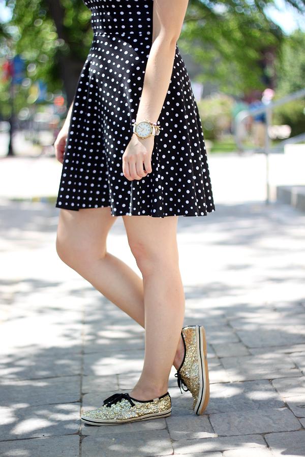 Kate Spade Gold Glitter Keds, Black and white polka dot dress