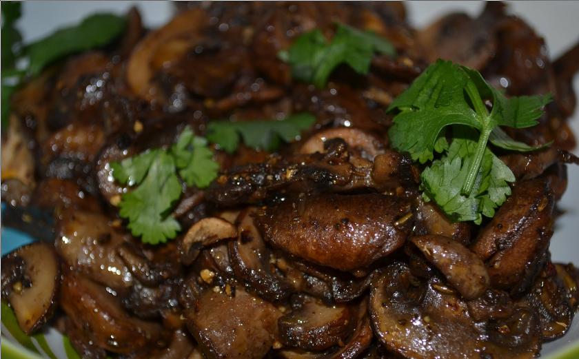 mushroom pepper fry mushroom fry by vahchef garnish with coriander ...