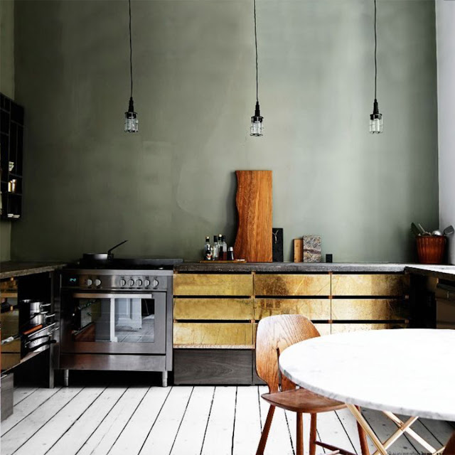 open-plan kitchen design brass