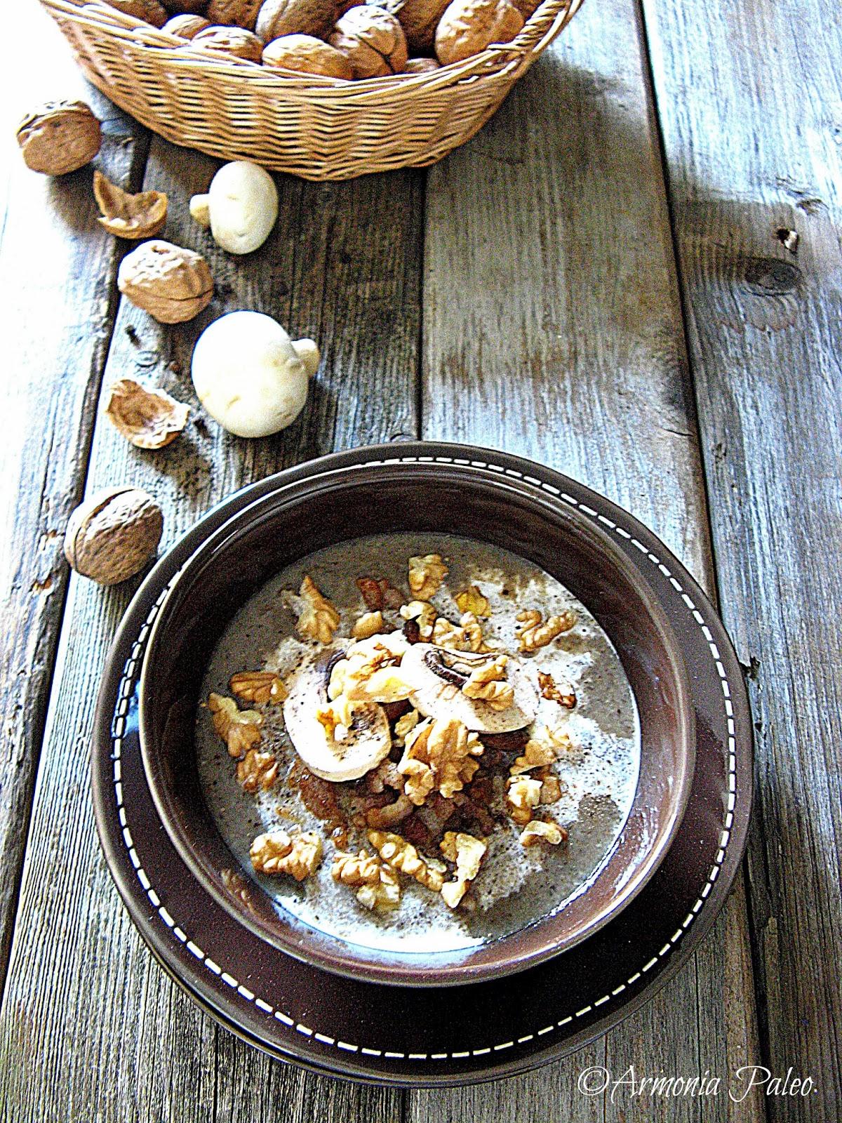 Vellutata di Funghi con Noci e Pancetta di Armonia Paleo