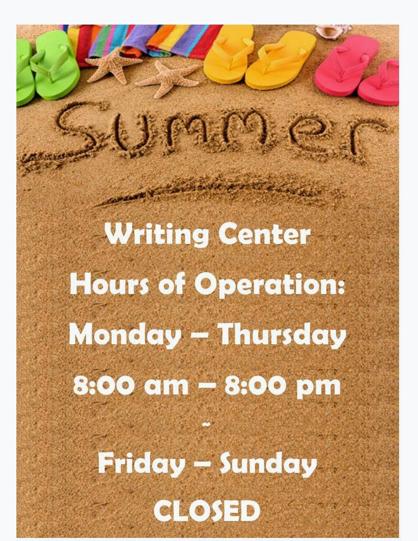 writing center hours Fall 2017 and spring 2018 hours monday - thursday: 9 am we provide assistance at all stages of the writing process writing center academic learning.