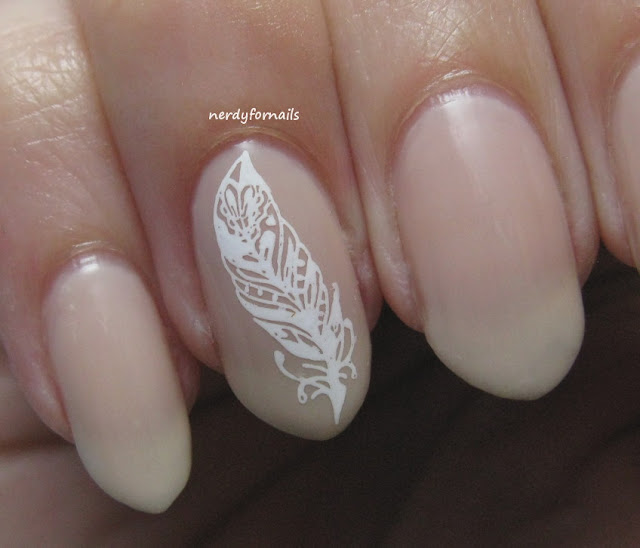 Work or Interview Appropriate Nails Nina Ultra Pro French Pink with Feather Stamping