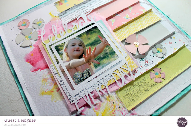 """ Celebrate Everyday"" layout by Bernii Miller for Clique Kits using their Alegria Kit."